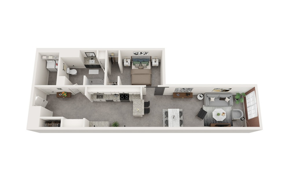 A1 - 1 bedroom floorplan layout with 1 bath and 967 to 975 square feet.