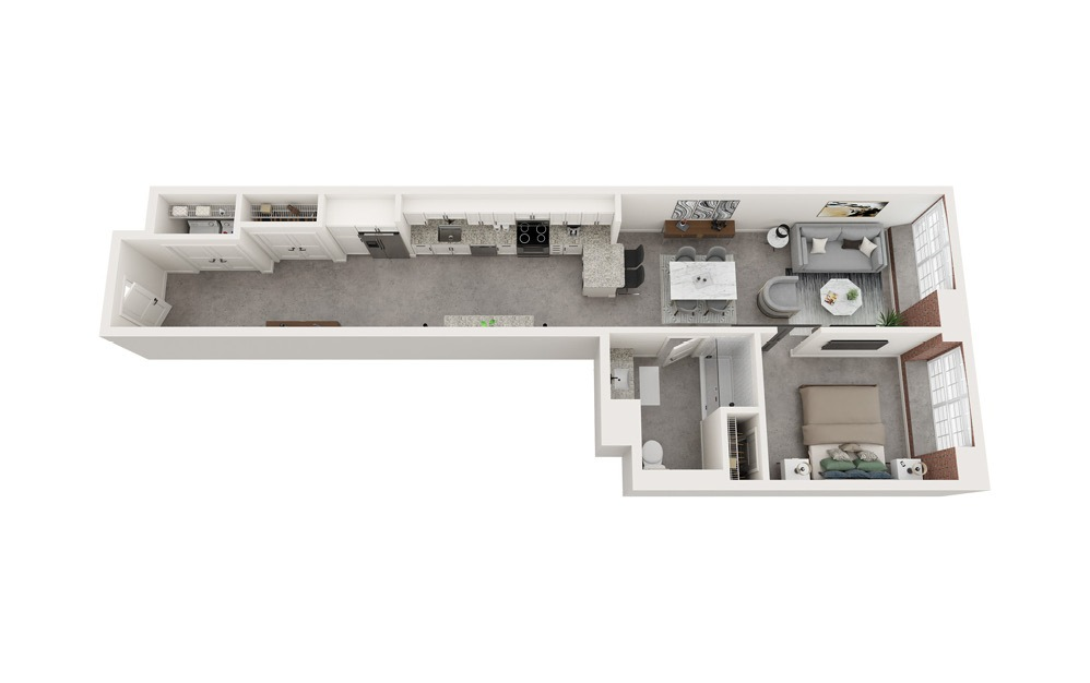 A2 - 1 bedroom floorplan layout with 1 bath and 834 to 849 square feet.