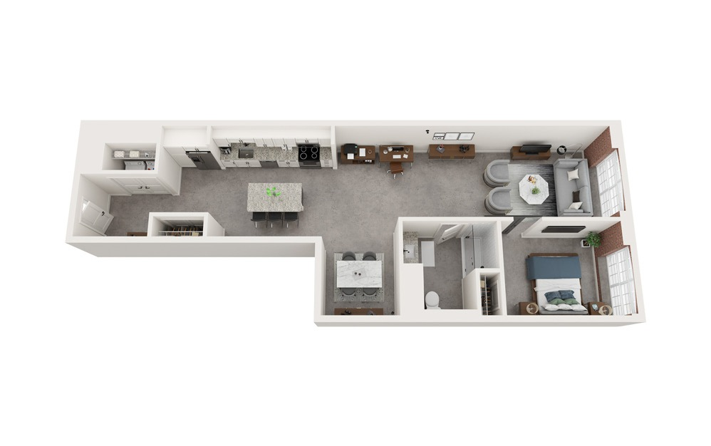 A3 - 1 bedroom floorplan layout with 1 bath and 989 to 1005 square feet.