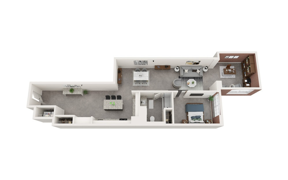 A4 - 1 bedroom floorplan layout with 1 bath and 1135 to 1146 square feet.