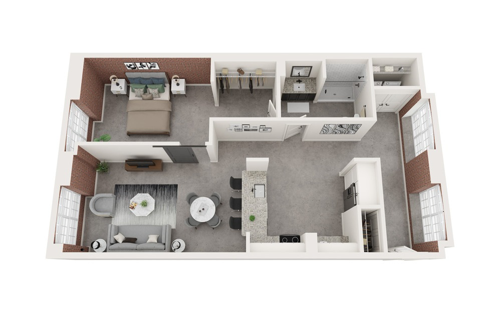 A6 - 1 bedroom floorplan layout with 1 bath and 945 square feet.