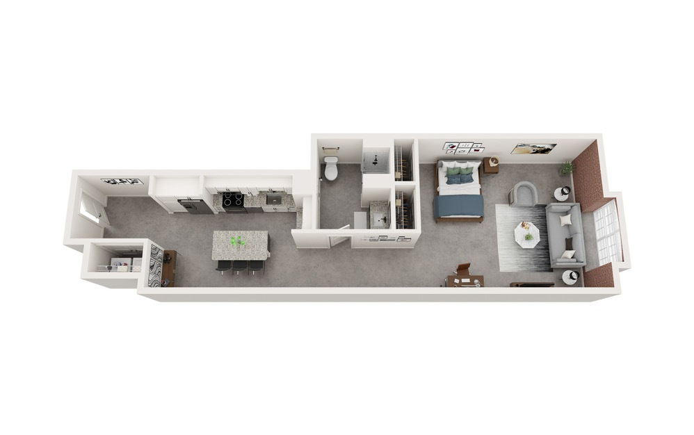 A7 - Studio floorplan layout with 1 bath and 793 to 832 square feet.