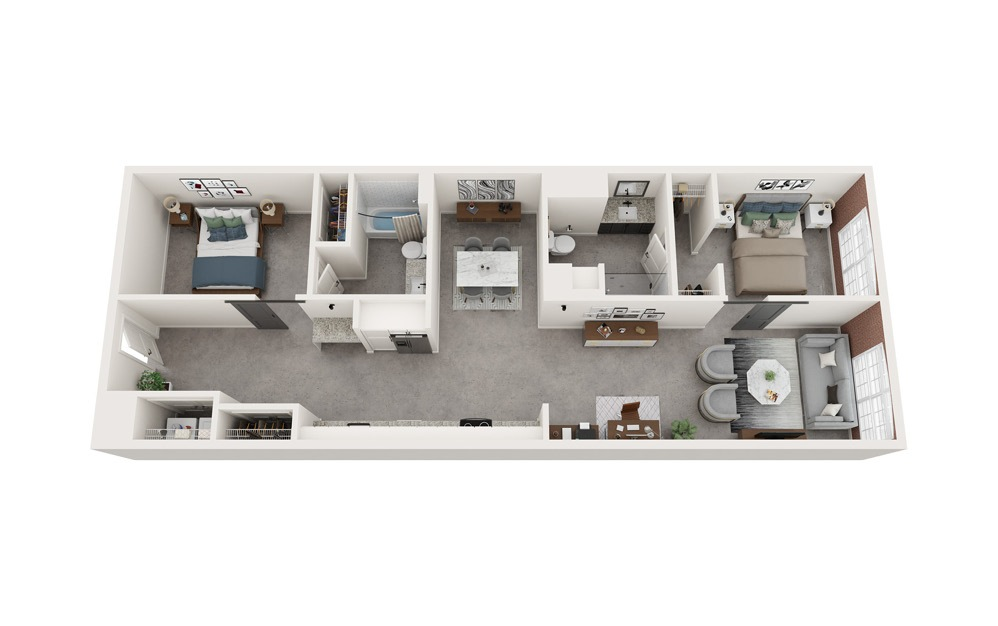 B1 - 2 bedroom floorplan layout with 2 baths and 1200 to 1216 square feet.