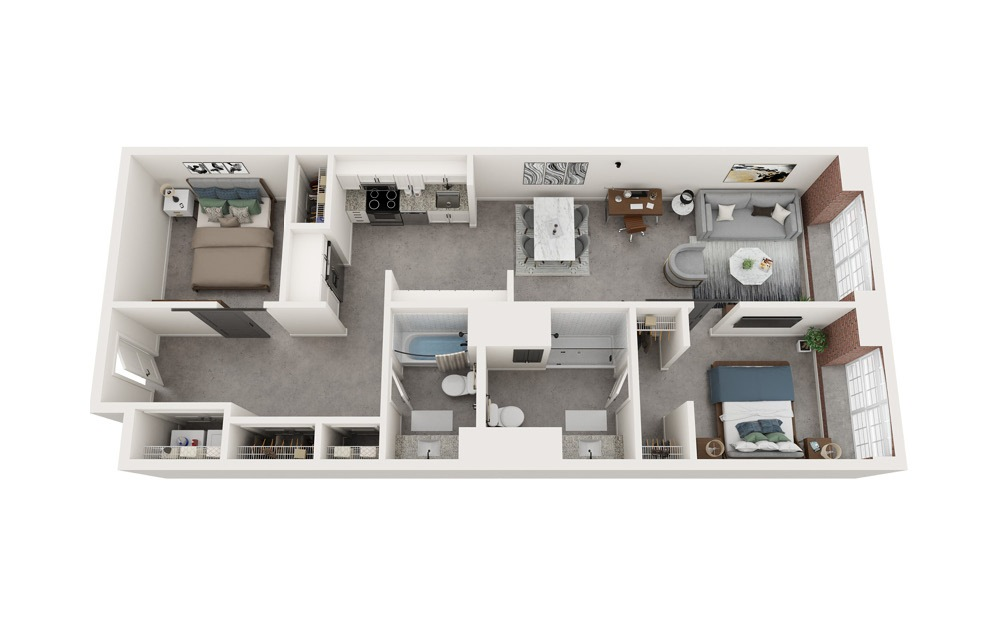 B3 - 2 bedroom floorplan layout with 2 baths and 1024 to 1040 square feet.