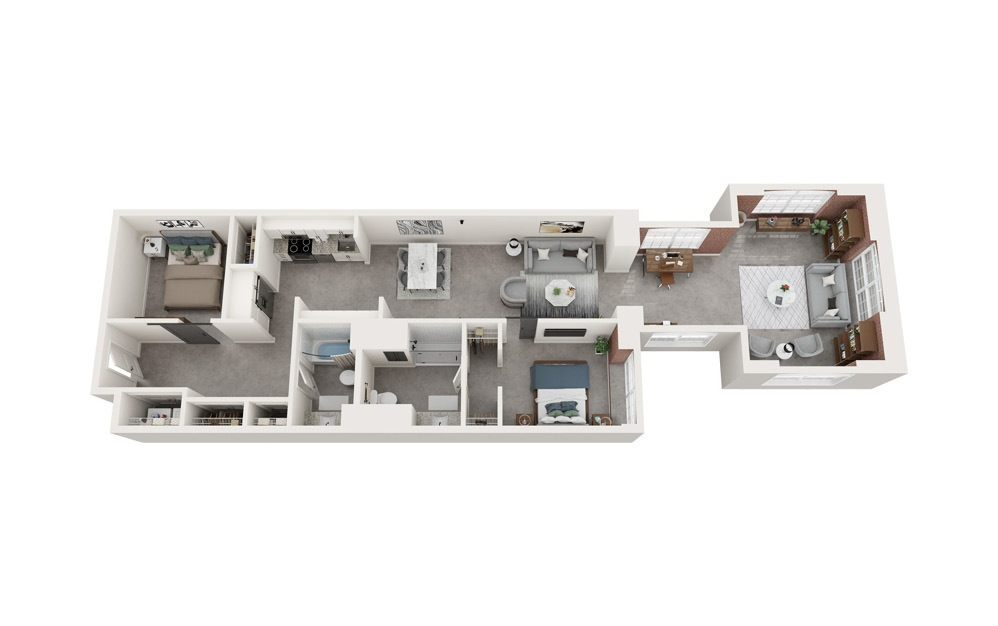 B4 - 2 bedroom floorplan layout with 2 baths and 1340 to 1351 square feet.