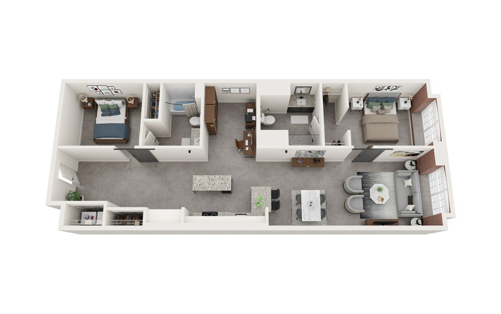 B5 - 2 bedroom floorplan layout with 2 baths and 1268 to 1285 square feet.