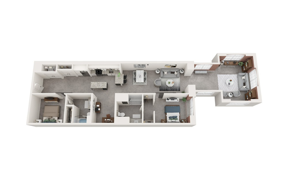 B6 - 2 bedroom floorplan layout with 2 baths and 1579 to 1595 square feet.