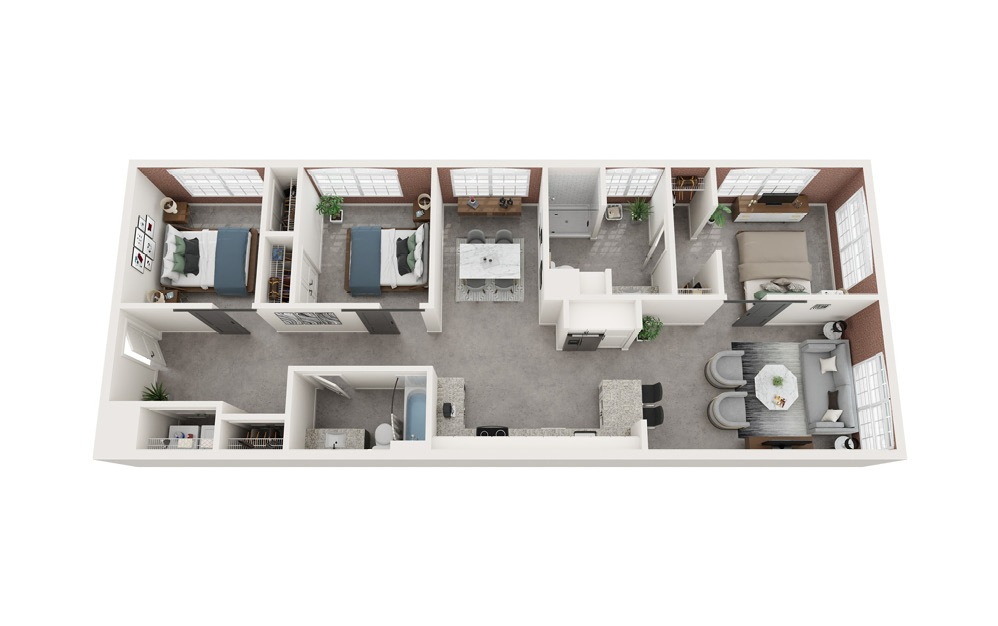 C1 - 3 bedroom floorplan layout with 2 baths and 1243 to 1303 square feet.