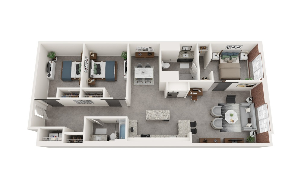 C2 - 3 bedroom floorplan layout with 2 baths and 1495 square feet.