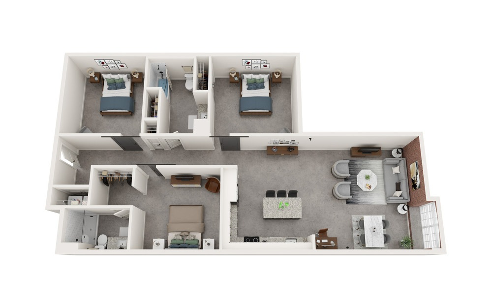 C4 - 3 bedroom floorplan layout with 2 baths and 1502 to 1515 square feet.