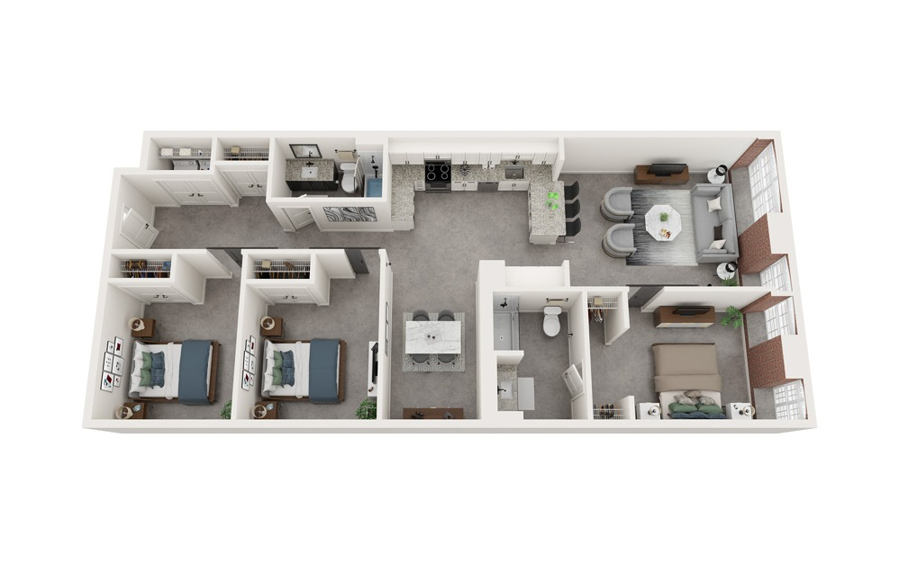 C5 - 3 bedroom floorplan layout with 2 baths and 1420 to 1439 square feet.