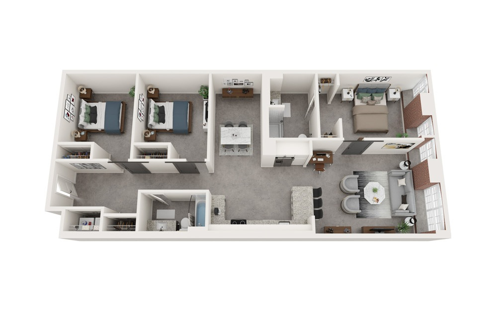 C6 - 3 bedroom floorplan layout with 2 baths and 1420 to 1439 square feet.